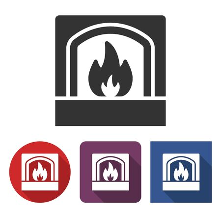 Fireplace icon in different variants with long shadow