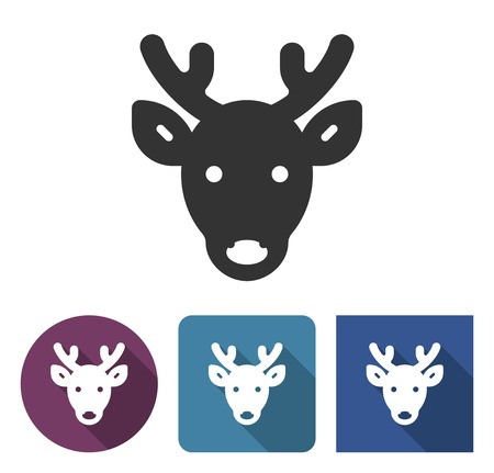 Reindeer icon in different variants with long shadow.