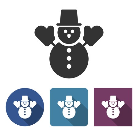 Snowman icon in different variants with long shadow
