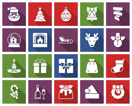 Christmas collection of  square icons  with long shadow