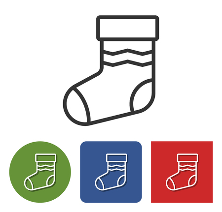Line icon of Christmas stocking in different variants  Illustration