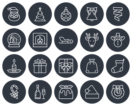 Christmas collection of round icons. Line style