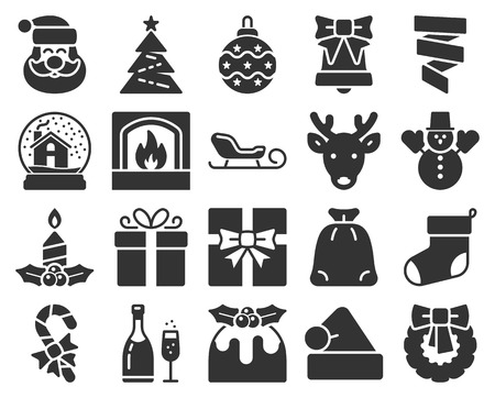 Collection of popular christmas icons  Illustration
