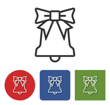 Line icon of Christmas bell in different variants  Illustration