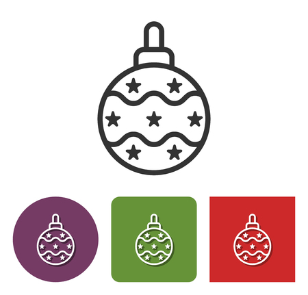 Line icon of Christmas tree decoration  in different variants