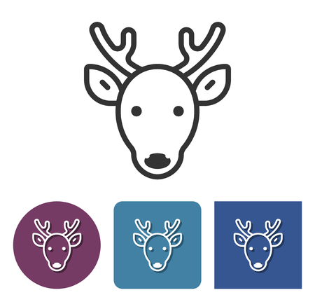 Line icon of reindeer in different variants  Illustration