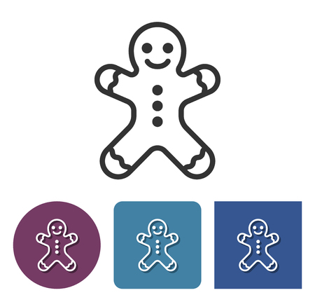 Line icon of gingerbread man in different variants
