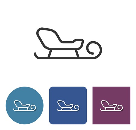 Line icon of sleigh in different variants