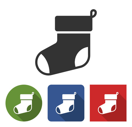 Christmas stocking icon in different variants with long shadow Illustration