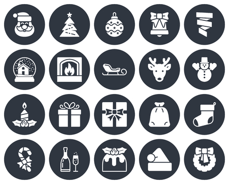 Christmas collection of round icons