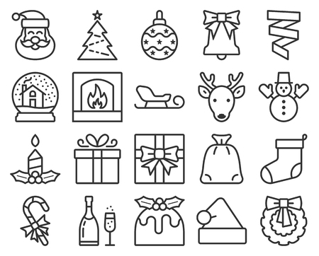 Collection of popular Christmas icons. Line style
