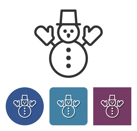 Line icon of snowman in different variants
