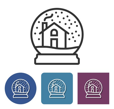 Line icon of snowy glass ball with a cosy home within in different variants  Illustration
