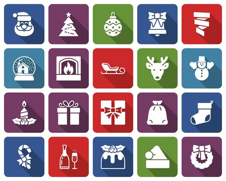 Christmas collection of rounded square icons  with long shadow Illustration