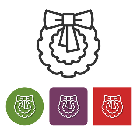 Line icon of Christmas wreath  in different variants