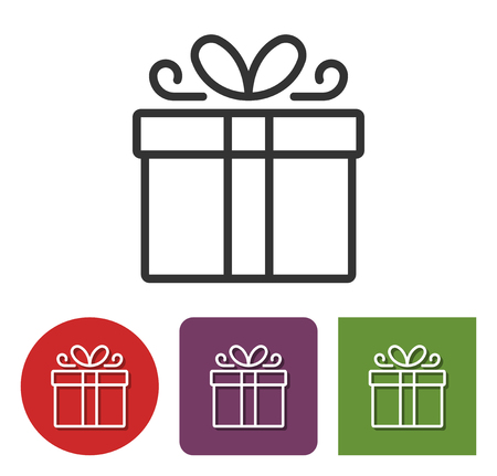 Line icon of gift box in different variants
