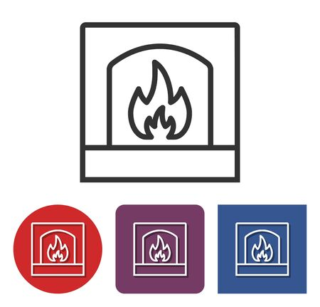Line icon of fireplace in different variants