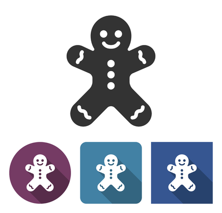 Gingerbread man icon in different variants with long shadow Illustration