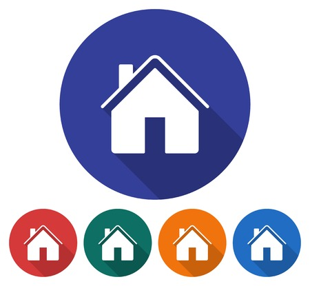 Round icon of home Flat style illustration with long shadow in five variants