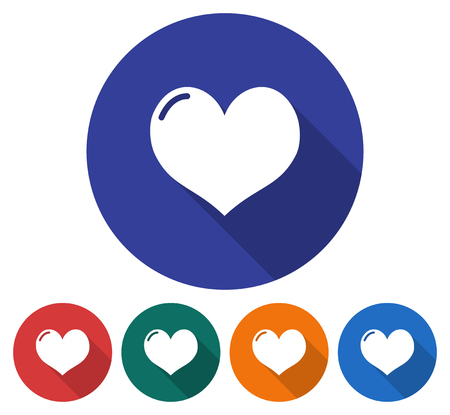 Round icon of heart Flat style illustration with long shadow in five variants