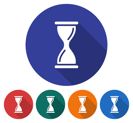 Round icon of hourglass Flat style illustration with long shadow in five variants