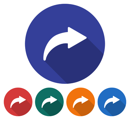 Round icon of right curved arrow Flat style illustration with long shadow in five variants Illustration