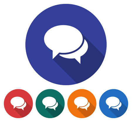 Round icon of  two blank speech bubbles. Dialogue icon. Flat style illustration with long shadow in five variants background color Illustration