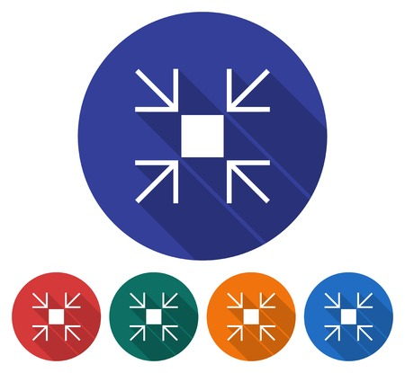 Round icon of reduce screen size. Flat style illustration with long shadow in five variants background color.