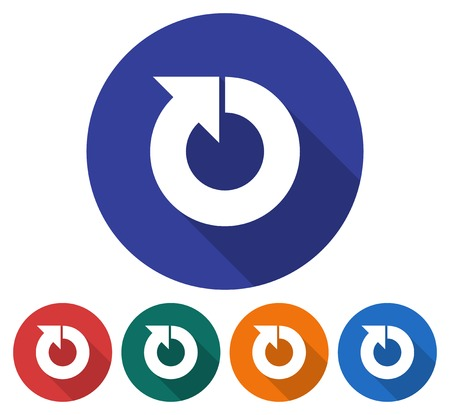 Round icon of recycling arrow. Flat style illustration with long shadow in five variants background color.
