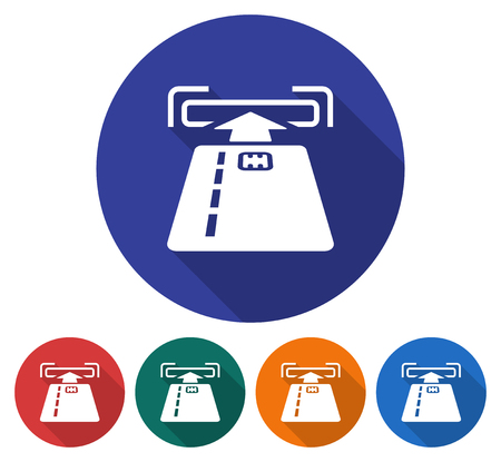 Round icon of ATM card slot . Flat style illustration with long shadow in five variants background color.