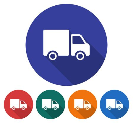 Round icon of delivery car. Flat style illustration with long shadow in five variants background color  Stock Illustratie