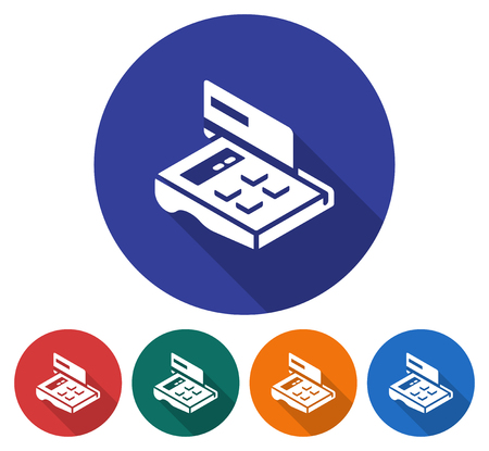 Round icon of POS-terminal with credit card. Flat style illustration with long shadow in five variants background color. Illustration