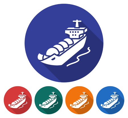 Round icon of  gas tanker. Flat style illustration with long shadow in five variants background color