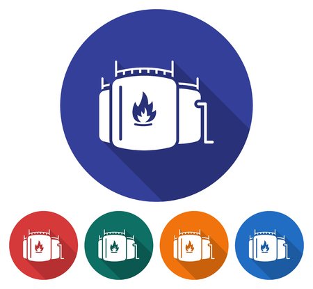 Round icon of oil storage tank. Flat style illustration with long shadow in five variants background color