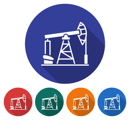 Round icon of oil derrick. Flat style illustration with long shadow in five variants background color