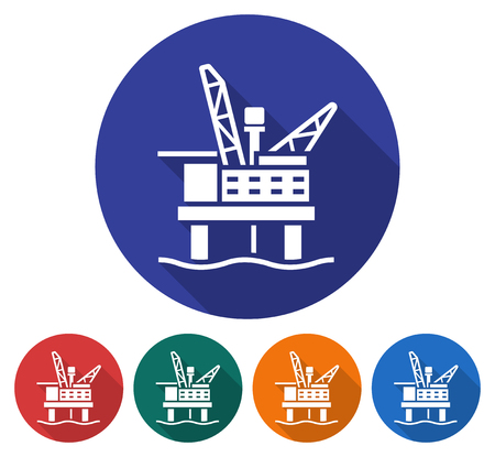 Round icon of offshore oil platform. Flat style illustration with long shadow in five variants background color
