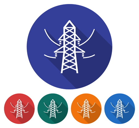 Round icon of power transmission pole. Flat style illustration with long shadow in five variants background color