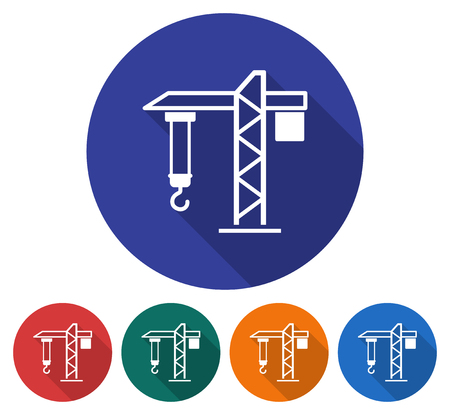 Round icon of tower crane. Flat style illustration with long shadow in five variants background color