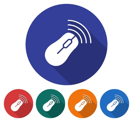 Round icon of wireless mouse. Flat style illustration with long shadow in five variants background color