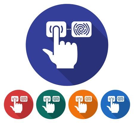 Round icon of fingerprint scanning