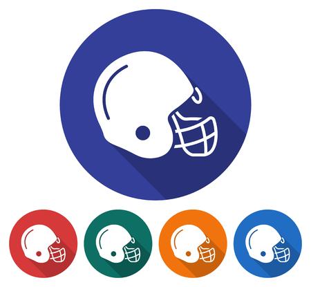 Rodada ícone do capacete de jogador de futebol americano. Ilustração de estilo simples com sombra longa na cor de fundo de cinco variantes