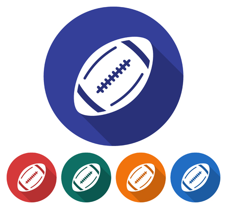 Round icon of  american football. Flat style illustration with long shadow in five variants background color