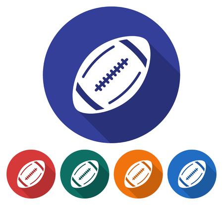 Rodada ícone do futebol americano. Ilustração de estilo simples com sombra longa na cor de fundo de cinco variantes