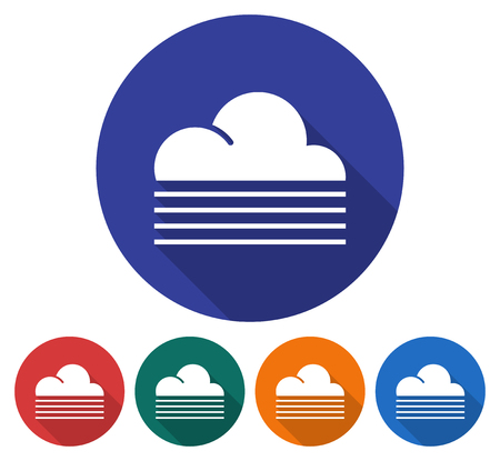 Round icon of  foggy weather. Flat style illustration with long shadow in five variants background color