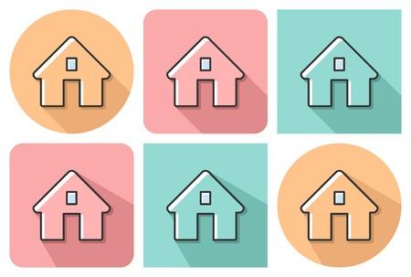 Overzicht icoon van huis met parallelle en niet parallelle lange schaduwen