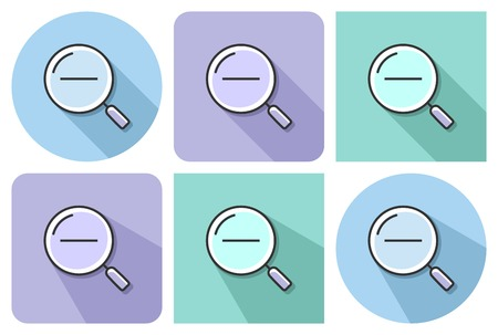 Outlined icon of decrease magnifying glass  with parallel and not parallel  long shadows