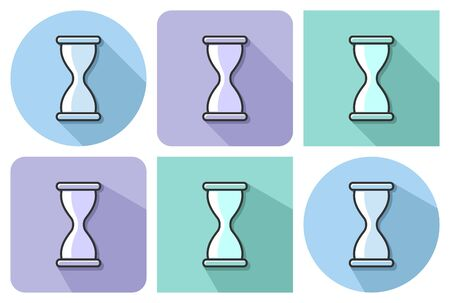 Outlined icon of hourglass with parallel and not parallel  long shadows    Ilustrace