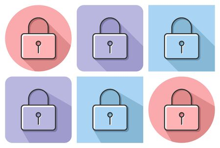 Outlined icon of locked padlock  with parallel and not parallel  long shadows Ilustrace