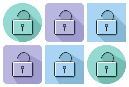 Outlined icon of unlocked padlock  with parallel and not parallel  long shadows