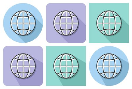 Outlined icon of globe with parallel and not parallel  long shadows